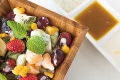 Bowl of healthy fresh fruit salad Stock Photos