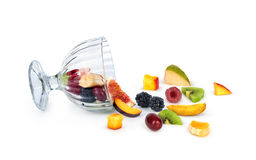 Bowl of healthy fresh fruit salad Stock Images