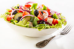 Bowl of Healthy Greek Salad Stock Images