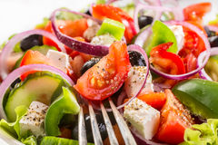 Bowl of Healthy Greek Salad Royalty Free Stock Images
