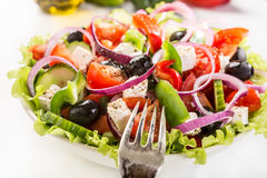 Bowl of Healthy Greek Salad Royalty Free Stock Photos