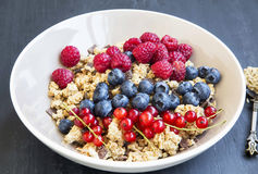 Bowl of healthy muesli with fresh berries royalty free stock image