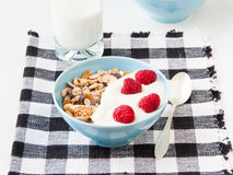 Bowl of healthy muesli with fresh raspberries. Bowl of healthy muesli  with fresh raspberries  and yogurt. selective focus Stock Photography