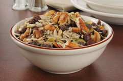 Trail mix. A bowl of healthy trail mix with raisins, pecans, walnuts, almonds and sunflower seeds Royalty Free Stock Photos