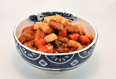 Bowl of Hearty Beef and vegetable Soup. Large bowl of beef and vegetable soup Royalty Free Stock Photos