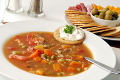 Bowl of hearty vegetable soup Royalty Free Stock Image