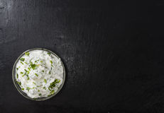 Bowl with Herb Curd Royalty Free Stock Photography
