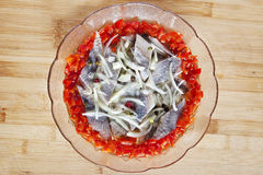 Bowl of herring Stock Image