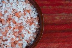 Bowl of himalayan rock salt Royalty Free Stock Image