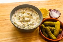 Bowl of home made tartar sauce Royalty Free Stock Photo