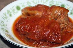 Bowl of Homemade Cabbage Rolls in a tangy Tomato Sauce Stock Images