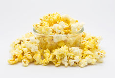 Bowl of homemade caramel popcorn stock images