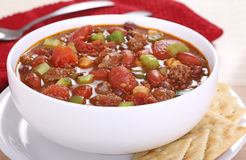 Bowl of Homemade Chili Stock Images