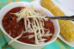Bowl of homemade chili Royalty Free Stock Photos