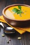 A bowl of homemade creamy pumpkin soup Royalty Free Stock Photos