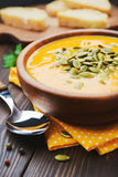 A bowl of homemade creamy pumpkin soup Royalty Free Stock Photography