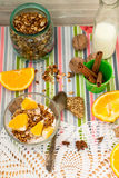 Bowl of homemade granola and oranges for breakfast Royalty Free Stock Photo