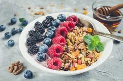 Bowl of homemade granola with yogurt stock image