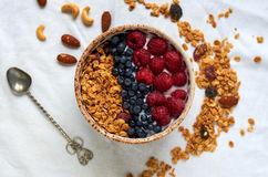 Bowl of homemade granola with yogurt, fresh berries and spoon Royalty Free Stock Photos