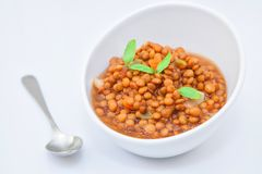 Lentil soup on bowl. A bowl of homemade lentil soup with vegetables Royalty Free Stock Photo