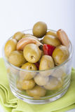 Bowl of homemade olives on a glass, typical spanish tapa, isolat Stock Image