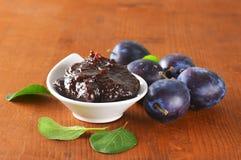Bowl of homemade plum jam Royalty Free Stock Photography