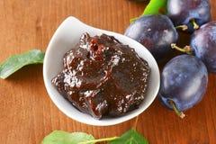 Bowl of homemade plum jam Royalty Free Stock Image