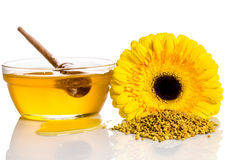 The bowl of honey with flower  and heap of pollen. On white Royalty Free Stock Images