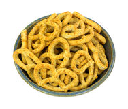 Bowl of honey and oat flavored pretzels Stock Photography