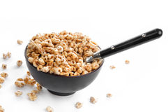 Bowl of honey pops cereal  Royalty Free Stock Photos