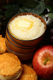 Bowl of Hot Grits in Kitchen Royalty Free Stock Image