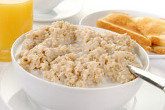 Bowl of hot oatmeal Royalty Free Stock Photo