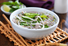 Bowl of hot pho shot in panoramic format Royalty Free Stock Photography