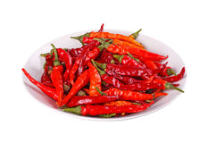 Bowl of hot, red chili peppers against white Stock Images