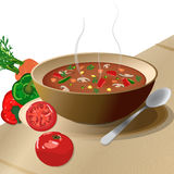 Bowl of hot vegetable soup. On plate, with spoon and tomato, peppers, carrots, isolated on white Stock Images
