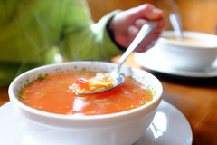 Bowl of hot vegetable soup and hand holding spoon. Stock Image