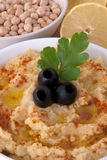 A bowl of hummus Stock Photo