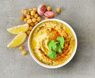 Bowl of hummus Royalty Free Stock Photography