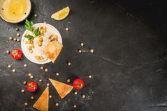 Bowl of hummus Royalty Free Stock Photo