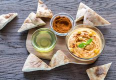 A bowl of hummus with pita slices Royalty Free Stock Photos