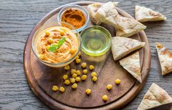 A bowl of hummus with pita slices Stock Image
