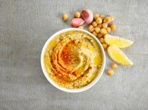 Bowl of hummus Stock Image