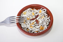 Bowl with imitation young eels cooked Stock Photos