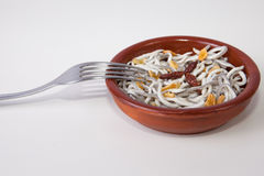 Bowl with imitation young eels cooked Stock Image