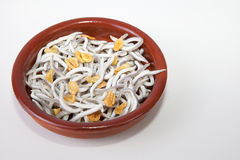 Bowl with imitation young eels cooked Royalty Free Stock Photography