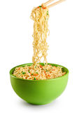 Bowl of instant noodles isolated on white background. Royalty Free Stock Photos