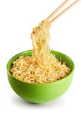 Bowl of instant noodles  on white background. Stock Photography