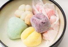 Bowl of Japanaese Mochi Traditionally Prepared stock photo