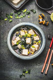 Bowl of Japanese miso soup Stock Image