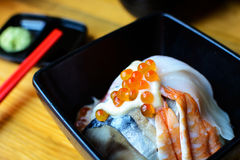 Bowl of Japanese mix sashimi don on rice Stock Photography